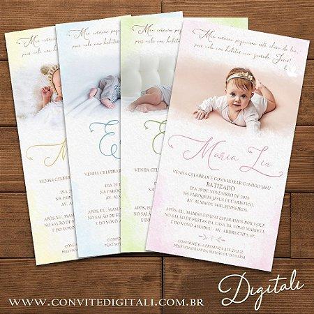Convite Batizado com Foto Aquarela - Arte Digital