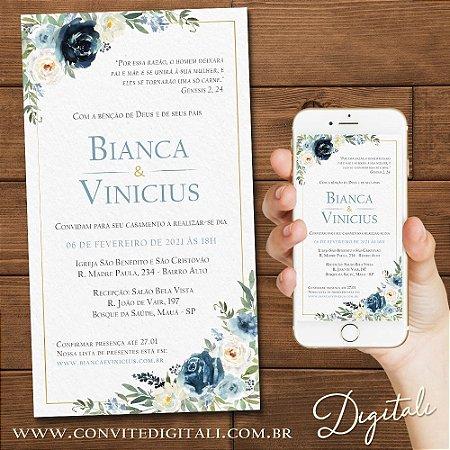 Convite Casamento Florido Azul Escuro e Azul Serenity - Arte Digital