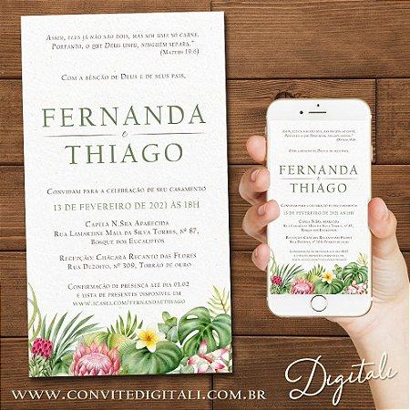 Convite Casamento Folhagem Tropical Aquarela - Arte Digital