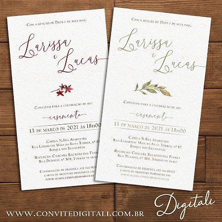 Convite Casamento Folhagem Greenery ou Marsala Aquarela - Arte Digital