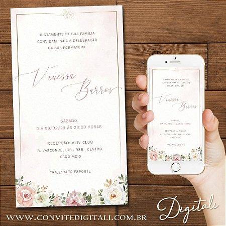 Convite Formatura Florido Rosa Chá Branco e Dourado - Arte Digital