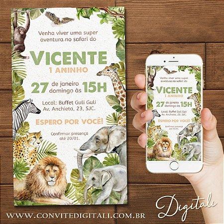 Convite Safari Selva Animais Floresta Aquarela - Arte Digital