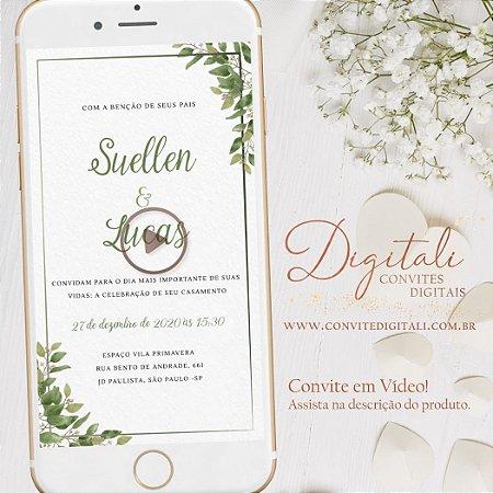 Convite Animado em Vídeo para Casamento Folhagem Greenery