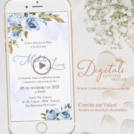 Convite Animado em Vídeo para Casamento Azul Serenity com Foto