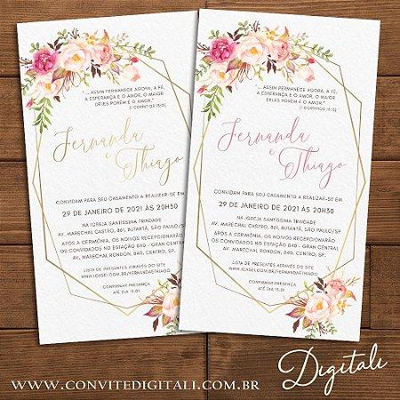 Convite Casamento Florido Rosa e Dourado - Arte Digital
