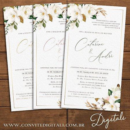 Convite Florido Rústico Dourado Branco, Verde ou Rose - Arte Digital