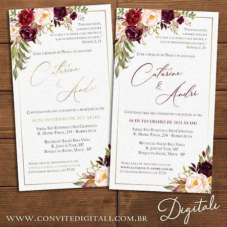 Convite Casamento Florido Marsala e Dourado - Arte Digital