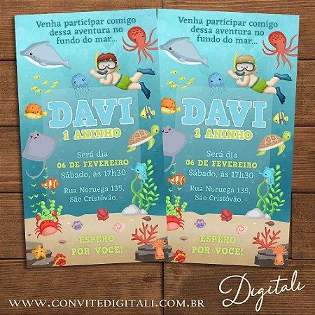 Convite Fundo do Mar e Mergulhador Menino - Arte Digital