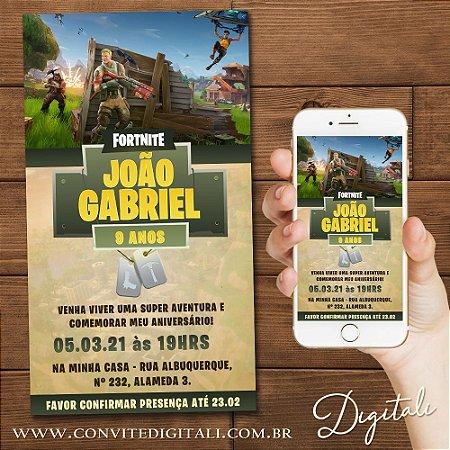 Convite Fortnite - Arte Digital