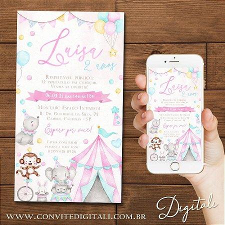 Convite Circo Candy Colors Aquarela Colorido - Arte Digital