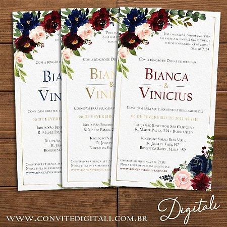 Convite Florido Marsala e Azul Escuro - Arte Digital