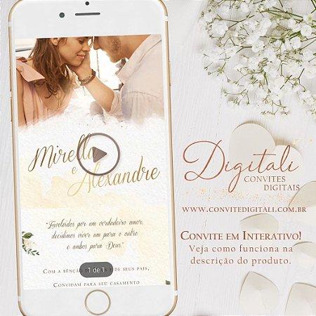 Convite Interativo com Link para Casamento Branco Verde e Dourado com Foto