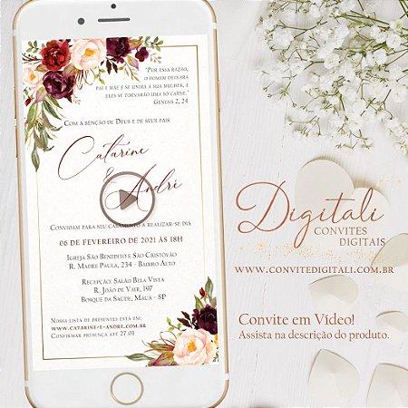 Convite Animado em Vídeo para Casamento Florido Marsala