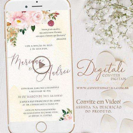 Convite Animado em Vídeo para Casamento Florido Aquarela Rosa com Foto