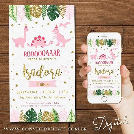 Convite Dinossauro Menina Rosa Dourado e Verde - Arte Digital