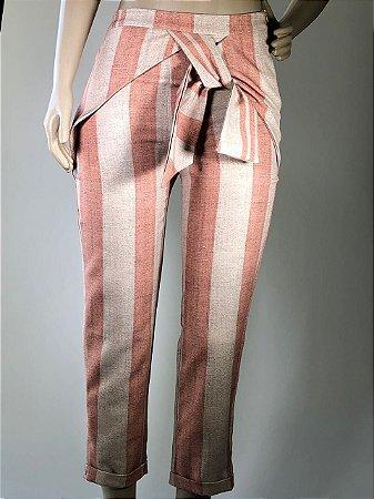 6607fbebea Calça Feminina de Alfaiataria Estampada Rosa Verde - AR