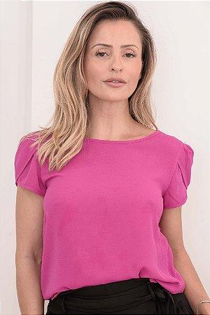 3adea23ae6 Blusa Feminina AR Crepe com Lycra Manga Tulipa Pink Mostarda Rose - AR