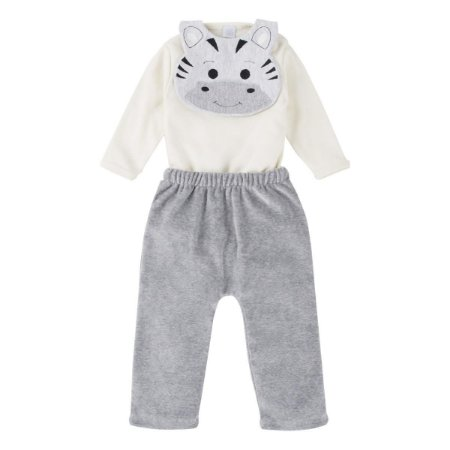 Conjunto Bebê Suedine Zebra 03 Peças
