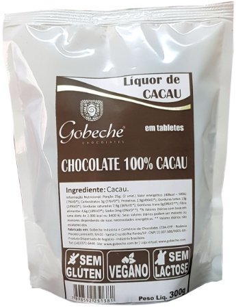 Chocolate 100%  Gobeche - Vegano - Sem Leite/Sem glúten - 300g
