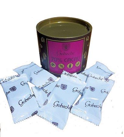 Lata Chocolate Gobeche - 70% Cacau Sem Leite/Sem glúten/Com Açúcar Mascavo - 120g