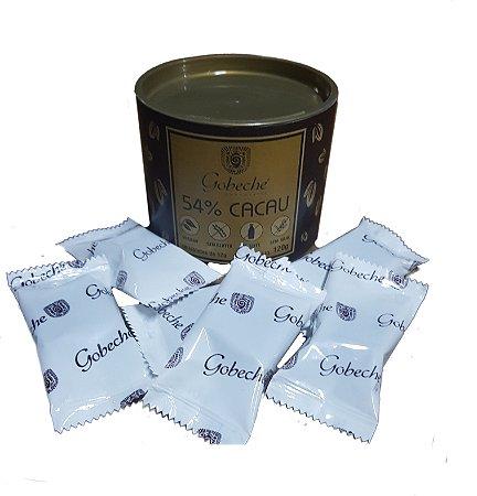 Lata Chocolate Gourmet 54% Cacau  Gobeche - Sem leite/Sem glúten -10 tabletes 12g