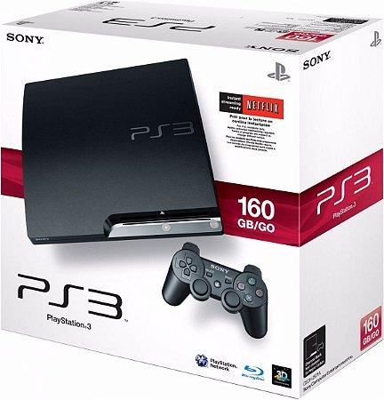 PLAYSTATION 3 MODELO SLIM COM 1 CONTROLE 160GB ( SEMI-NOVO) COM 3 JOGOS DE BRINDES