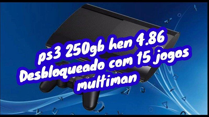 Ps3 Super Slim - Sony - Preto - 250GB - 1 Controle ( Preto) desbloqueado hen 4.86 com 15 jogos internos bivolt 110v e 220v