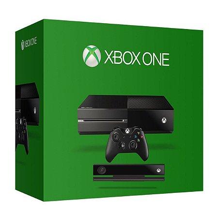 XBOX ONE FAT - Microsoft - 500GB - Kinect  Preto - Semi- Novo com 1 controles