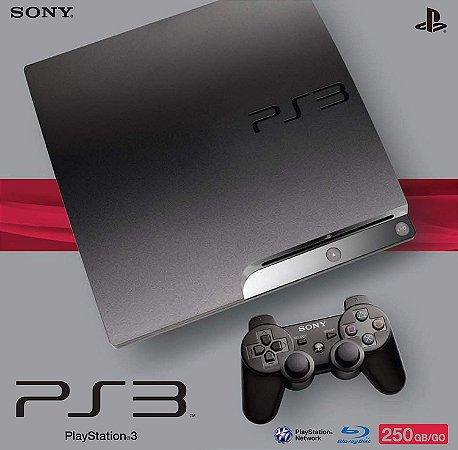 PLAYSTATION 3 MODELO SLIM COM 1 CONTROLE 250GB ( SEMI-NOVO) COM 3 JOGOS DE BRINDES
