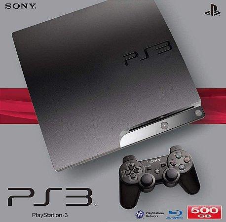 PLAYSTATION 3 MODELO SLIM COM 1 CONTROLE 500GB ( SEMI-NOVO) COM 3 JOGOS DE BRINDES