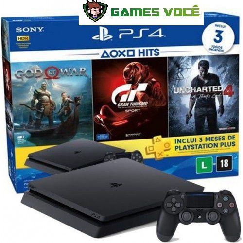 Playstation 4 SLIM - 1TB - Com 3 Jogos em Mídias Físicas: God of War 4, Gran Turismo Sports