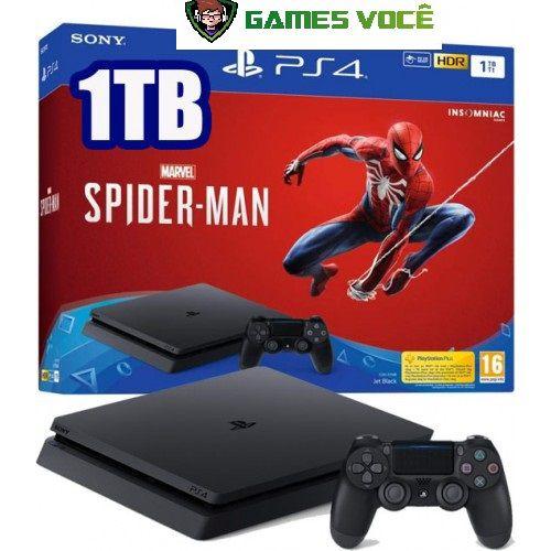 Playstation 4 SLIM - 1TB - Com Spider-Man Homem-Aranha (em Português) - HD 1TB