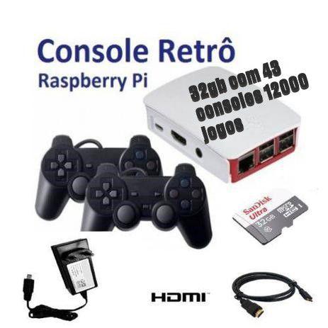 Mini Console Retrô - Com 12000 Jogos Clássicos - 32GB - Raspberry Pi - com 2 Controles