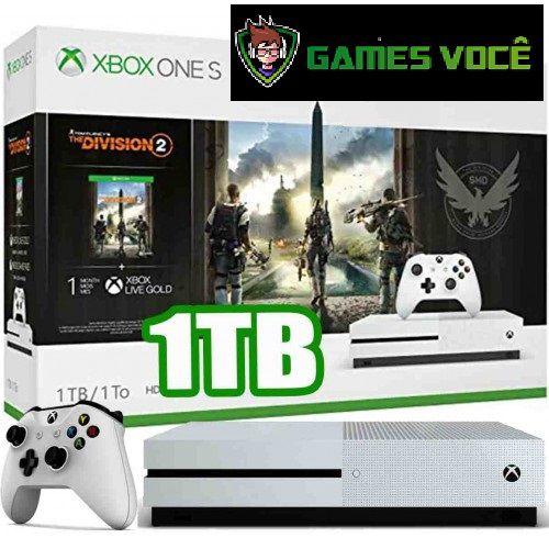 Xbox One S - 1TB - Division 2 - Cor Branca brinde capinha controle