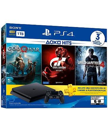 Playstation 4 SLIM - 1TB - Com 3 Jogos em Mídias Físicas: God of War 4, Gran Turismo Sports (OEM)
