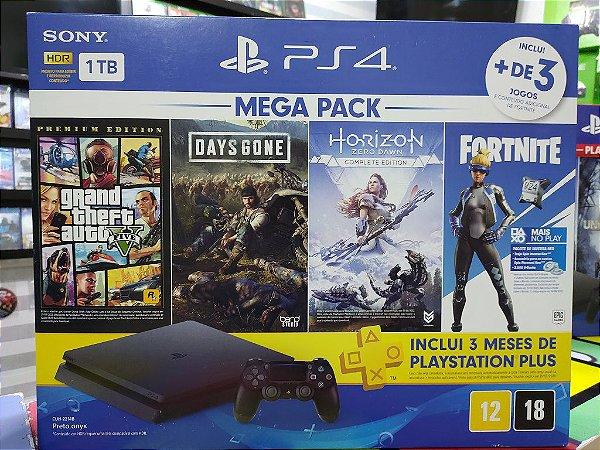 Playstation 4 Slim 1TB - Com 4 Jogos: GTA 5, Days Gone, Horizon, Fortnite