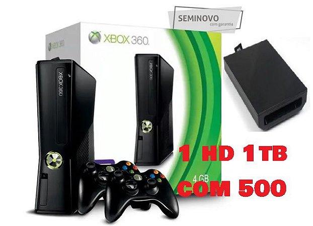 Xbox 360 - Microsoft -RGh com 2 controle + 1tb hd interno com 500jogos