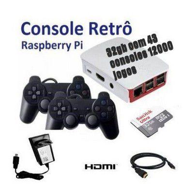 Mini Console Retrô - Com 12000 Jogos Clássicos - 32GB - Raspberry Pi - com 4 Controles