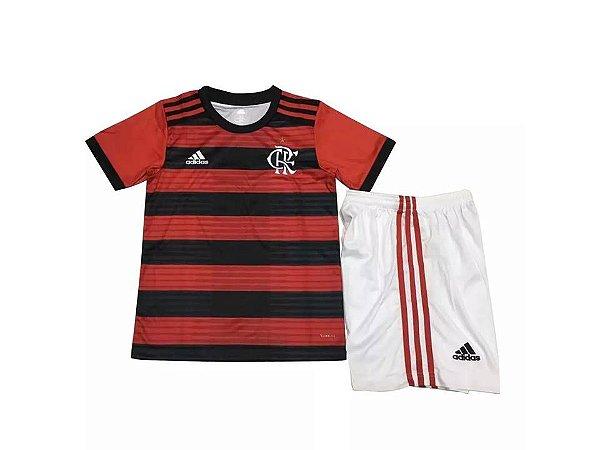 a33b68f57e Novo Kit Flamengo Infantil 2018 Adidas Camisa e Shorts Vermelho Preto
