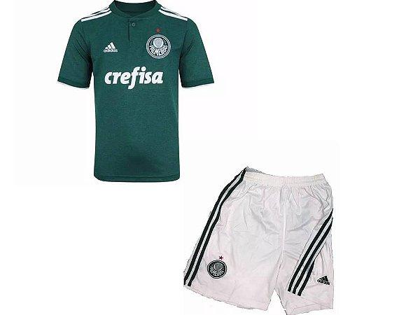 5a65736951 Novo Kit Camisa Shorts Palmeiras Infantil 2018 Verde Adidas Lançamento
