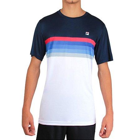 Camiseta Fila Aztec Box Plaid - Branco e Azul Marinho