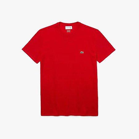 Camiseta Lacoste Jérsei de Algodão Pima com Gola Redonda - Vermelha