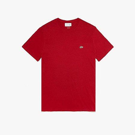 Camiseta Lacoste Jérsei de Algodão Pima com Gola Redonda - Bordô