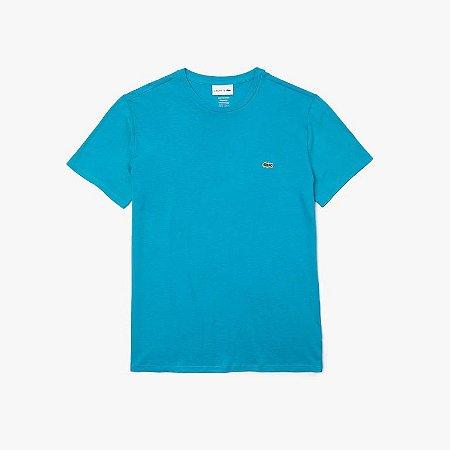 Camiseta Lacoste Jérsei de Algodão Pima com Gola Redonda - Azul Celeste