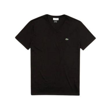 Camiseta Lacoste  Jérsei de Algodão Pima com Gola V - Preto