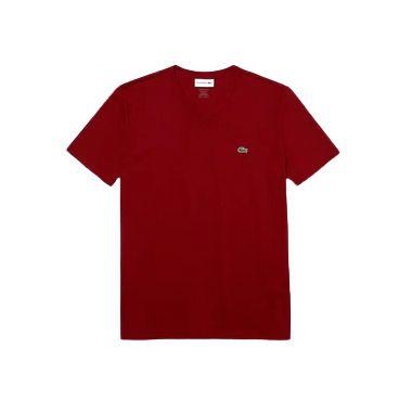 Camiseta Lacoste  Jérsei de Algodão Pima com Gola V - Bordô