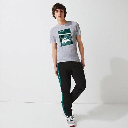 Camiseta Lacoste Sport Ultra Dry Estampa Croco 3D Quadra - Cinza