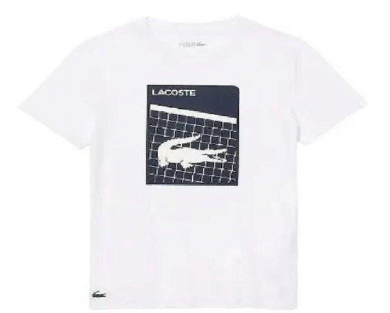 Camiseta Lacoste Sport Ultra Dry Estampa Croco 3D Quadra - Branca