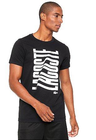Camiseta Lacoste Sport Com Logo Grande - Preta