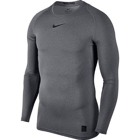 Camiseta Manga Longa de Compressão Nike Cinza